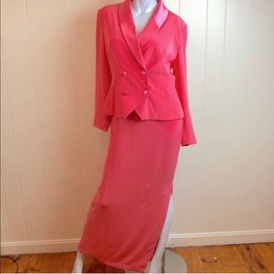 Oleg Cassini Coral 2pc Dress & Jacket Set